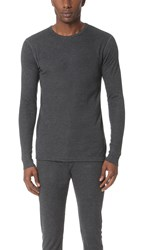 Sunspel Thermal Long Sleeve Crew Neck Shirt Charcoal