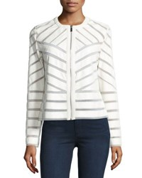 Bagatelle Faux Leather Striped Jacket Cloud