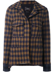 Odeeh Checked Jacket Brown