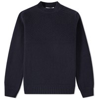 Inis Meain Button Collar Moss Knit Blue