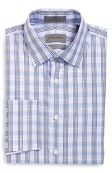 Men's Big And Tall John W. Nordstrom Trim Fit Non Iron Check Dress Shirt Blue Grapemist