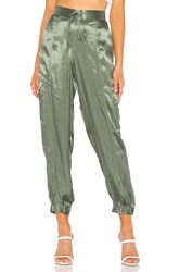 1.State Soft Satin Cargo Jogger Pant Green