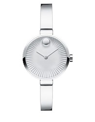 Movado Edge Stainless Steel Bangle Bracelet Watch Silver