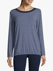 Betty And Co. Printed Top Blue Cream