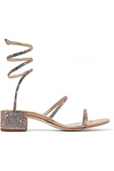 Rene Caovilla Crystal Embellished Satin And Leather Sandals Beige