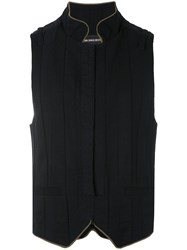 Ann Demeulemeester Concealed Fastening Gilet Men Cotton Linen Flax L Black