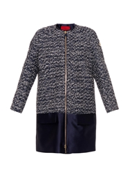 Moncler Gamme Rouge Collarless Tweed And Duchess Satin Coat