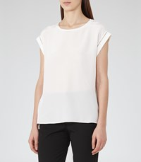 Reiss Gina Womens Silk Front Top In White