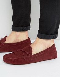 Asos Driving Shoes In Burgundy Faux Suede Red