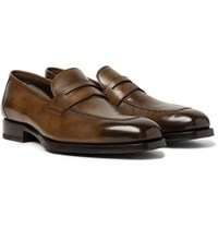 Tom Ford Wessex Burnished Leather Penny Loafers Chocolate