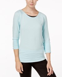 Gaiam Clover Strappy Back Long Sleeve Top Crystal Blue