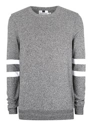 Topman Mid Grey Dark Grey And White Twist Sleeve Stripe Sweater