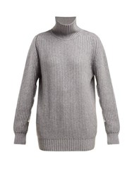 Hillier Bartley Chunky High Neck Cashmere Sweater Grey