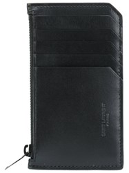 Saint Laurent Fragments Zip Pouch Men Calf Leather One Size Black