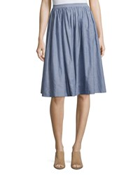 Vince Pencil Stripe Shirred Full Skirt Blue White Blue White