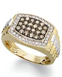 Macy's 10K Gold And White Gold Ring White Diamond 1 3 Ct. T.W. And Natural Brown Diamond 3 4 Ct. T.W. Ring