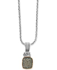 Effy Balissima By Diamond Pave Cluster Pendant Necklace 1 3 Ct. T.W. In Sterling Silver And 18K Gold Two Tone