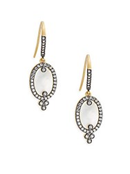 Freida Rothman Classic Cubic Zirconia Sterling Silver Rhodium Plated And 14K Goldplated Mother Of Pearl Slice On Earwire Earrings