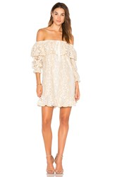 Endless Rose Off Shoulder Lace Dress With Tie Beige