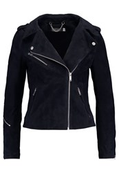 Mint Velvet Multi Zip Leather Jacket Ink Dark Blue
