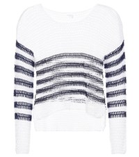 Anna Kosturova Sailor Crocheted Cotton Sweater White