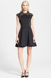 Ted Baker 'Vivace' Lace Panel Fit And Flare Dress Black