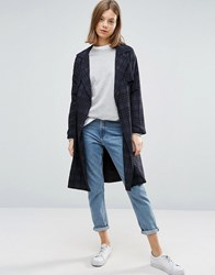 Native Youth All Over Check Lightweight Trench Navy Check