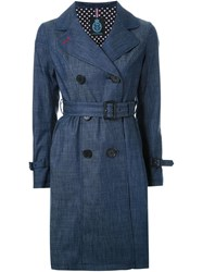 Guild Prime Flared Midi Trench Coat Blue