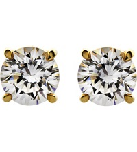 Carat Round 1Ct Solitaire Stud Earrings Yellow