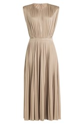 Valentino Balletts Russes Pleated Silk Dress Beige