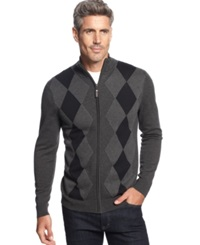Tasso Elba Big And Tall Argyle Full Zip Sweater Only At Macy's Charcoal Combo