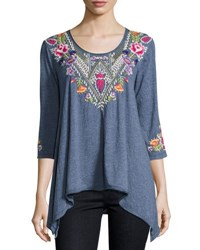Johnny Was Josephine Embroidered Yoke Tee Navy