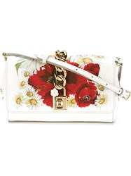 Dolce And Gabbana Daisy And Poppy Print Crossbody Bag White
