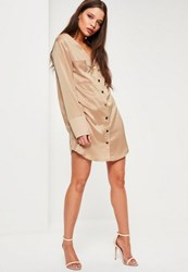 Missguided Petite Exclusive Beige Satin Pocket Shirt Dress Champagne