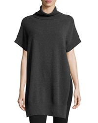 Neiman Marcus Cashmere Cowl Neck Short Sleeve Sweater Charcoal Gray
