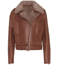 Brunello Cucinelli Fur Trimmed Leather Jacket Brown