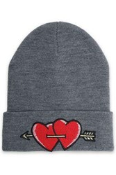 Maje Embroidered Knitted Beanie Gray