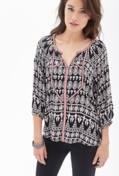 Forever 21 Embroidered Tribal Print Tunic Black Cream
