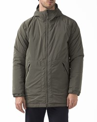 Aspesi Khaki Padded Parka With Hood And Zipped Pockets