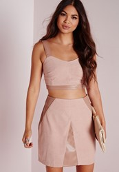 Missguided Faux Suede And Leather Contrast Crop Top Nude