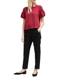 French Connection Puff Sleeve Top Baked Cherry