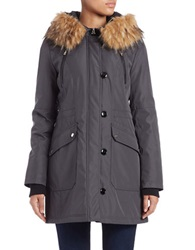 Jessica Simpson Faux Fur Trimmed Parka Steel Silver