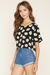 Forever 21 Floral Print Woven Crop Top