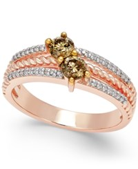 Macy's Diamond Statement Ring 1 2 Ct. Tw. In 14K Rose Gold Plated Sterling Silver Two Tone