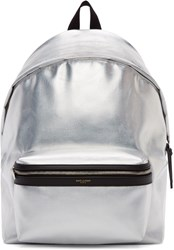 Saint Laurent Silver Metallic Hunting Backpack