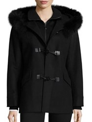 George Simonton Fox Fur Trim Duffle Coat Black