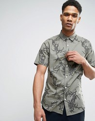 Only And Sons Short Sleeve Shirt In Slim Fit With All Over Print Calamata Green