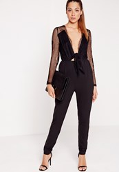 Missguided Lace And Crepe Tie Front Jumpsuit Black Black