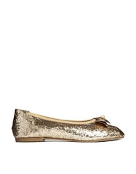 F Troupe Gold Glitter Leather Flat Shoes With Bow Detail