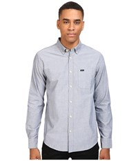 Rvca That'll Do Oxford L S Distant Blue Long Sleeve Button Up Gray